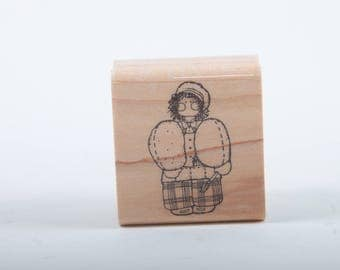 Cute, Painter, Vintage, Scrapbooking, Arts, Crafts, Single Stamp Rubber, Wood, Mounted, Girl, Paintbrush, Artist ~ 160921C
