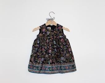 Girls's Dress in Pure Silk - botanic blue