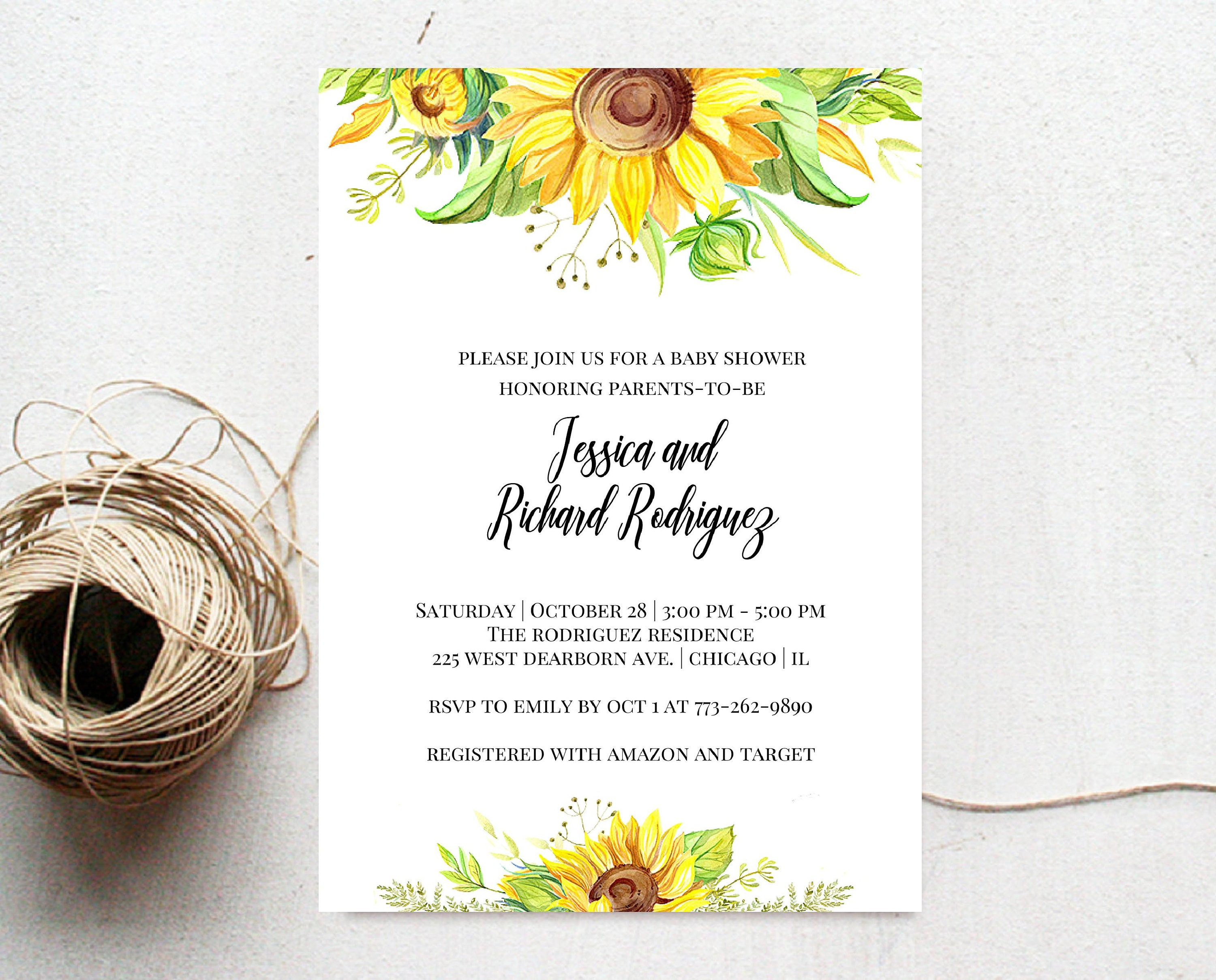 Sunflower Baby Shower Invitation - Country Rustic Baby Shower ...