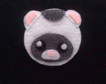 Hand sewn felt ferret