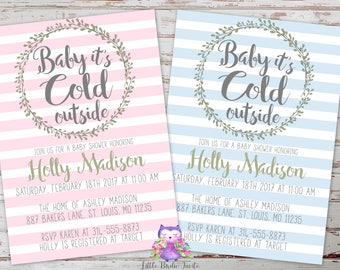 Baby It's Cold Outside Baby Shower Invitation, Winter Baby Shower Invitation, Boy Baby Shower Invitation, Girl Baby Shower Invitation