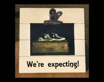 We're Expecting! - Pregnancy Announcement clip frame. We're expecting twins/triplets/baby surprise gift pregnant ultrasound
