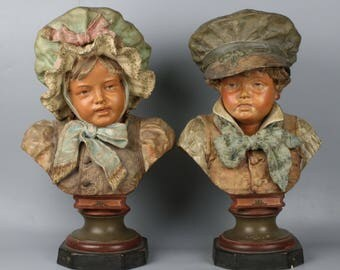 "Large 18"" Antique Austrian terracotta 2 figurines Busts of Boy & Girl"