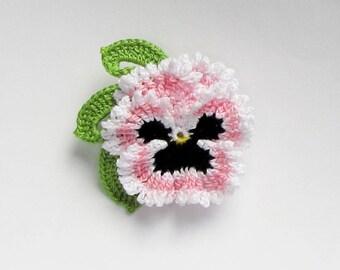 Crochet Flower Pin Irish Crochet Pansy Pin Lapel Pin Scarf Pin Hat Pin Women's Accessory Birthday Gift Fiber Art Flower Brooch Pink
