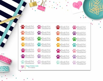 Pet Stickers- Flea and Tick Stickers- Pet Treatment Stickers-Planner Stickers