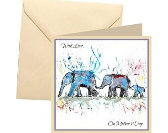 Animal Mothers day card, blank card, elephant mothers day card, Mothers day card, Mothers day, elephant card for mum, elephant family