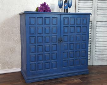Vintage Mid Century Solid Wood Bar Cabinet Server Hand Painted and Distressed in Layers of Vibrant Blues Over Black