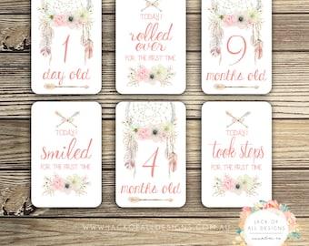 Baby Milestone Cards - Floral Dreamcatcher - Girl