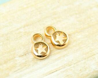 4x star Pendant mini 6mm gold plated #4549
