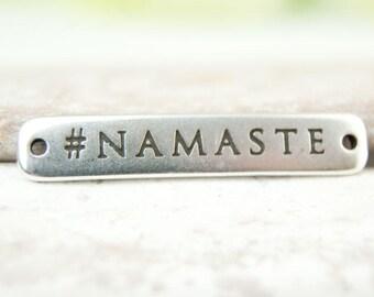 2x Namaste Bracelet part ca. 3 cm silver plated #4813