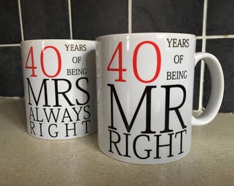 NEW Years of Being Mr Right & Mrs Always Right Wedding Anniversary Christmas Birthday Gift Present