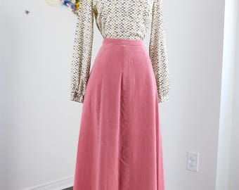 Vintage Boho 1970s Pretty Soft Pastel Pink Velvet Maxi Skirt Victorian Style Size Extra Small Small Waist 26""
