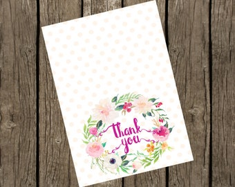 Thank You Cards Printable. Floral Thank You Cards 3.5x5. Instant Download. Thank You Cards Birthday Party. Baby Shower Thank you Cards