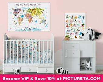 Baby Nursery Wall Art animal world map | etsy