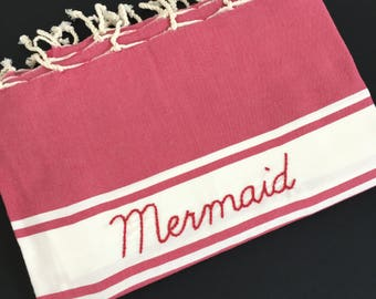 "Fouta rose framboise ""Mermaid"""