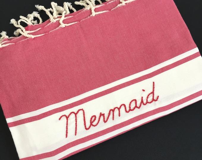 "Fouta rose framboise ""Mermaid"""