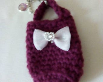 Bag sock, Key chain dog sweat bag, handkerchiefhalter Key holder Black and pink gradient with crystal pendant, Tasty bag