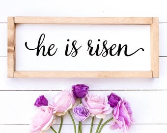 He is Risen // Christian Wall art / christian wall decor / scripture wood sign / rustic wood signs // wooden sign / scripture art
