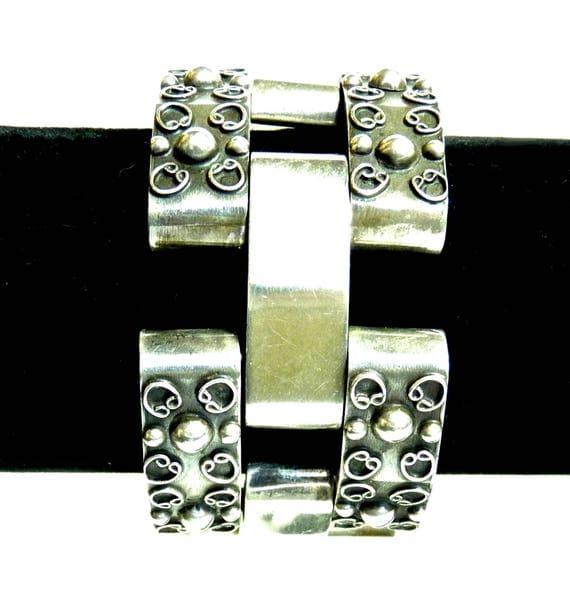 AMBRIZ STERLING SILVER ~ Vintage Taxco Modernist Sterling Silver Link Bracelet ~ Classic Fred Davis Design ~ Chunky Link Bracelet