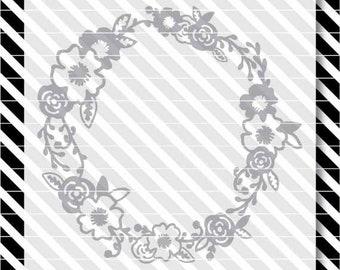 floral wreath svg cut file - floral wreath dxf  - svg floral wreath - dxf file - svg cut file - floral svg - floral cut file - dxf floral