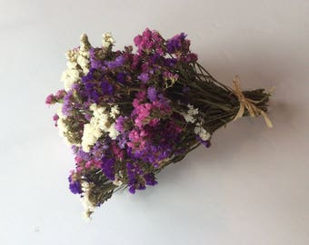 Purple, Pink and White dried Statice Bouquet