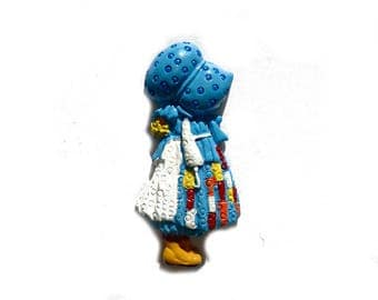 """Set of 2 cabochon """"Doll with hat"""" embossed - resin"""