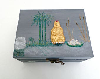 "Jewelry, ""Méditation"", double compartment wooden box"