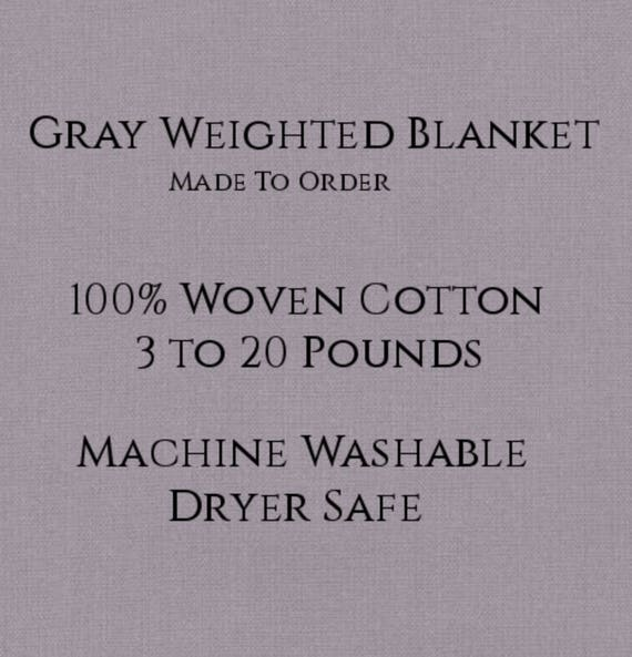 Solid Color, Weighted Blanket, GRAY, Up to Twin Size 3 to 20 Pounds.  Calming, Heavy Blanket, SPD, Autism, Weighted Blanket.