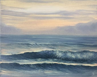 Sunrise Painting, Surf Art, Beach, Coastal Landscape, Ocean Sunrise Art, Original Oil Painting on Canvas, Seascape at Sunrise