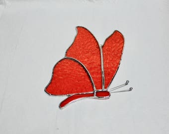 Stained Glass  Butterfly Suncatcher - Orange Stained Glass Butterfly - Stained Glass Suncatcher - Stained Glass Butterfly - Orange Butterfly