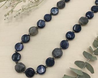 Kyanite, Labradorite, & Pyrite Necklace, White Bronze Toggle