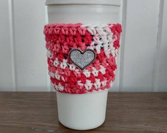 Sleeve for Cup/Coffee Cup cozy with heart/Tangerine