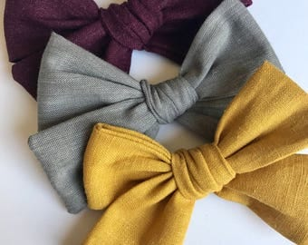 Fall bow set, fall bows, mustard bows, plum bows, gray bows, fabric bows, bows on clips, bows on headbands, baby bows, trendy bows, cute bow