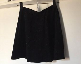 90s Shimmery Black Mini Skirt