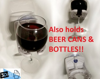 Beer and Wine Holder - Shower and Bath - Many Colors - Customizable - 3D Printed