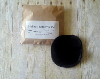 Black Bamboo Velour Makeup Remover Pad- Set of 25 - Face Cloth - Face Scrubbies - Cleansing Pad - Wash Cloth