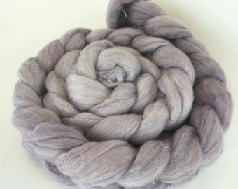 Purple Spinning Fiber Hand Dyed Ombre on Merino Silk combed top roving