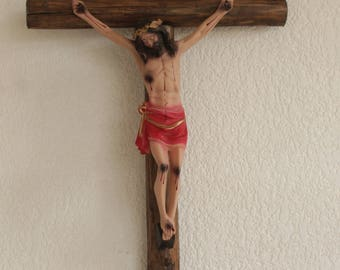 Large Wall Cross Crucifix Jesus Christ  Wood Cross Handcarved