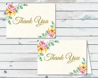 Floral Thank You Cards, Printable Floral Thank You Cards, Floral Baby Shower, Shabby Chic Thank You Cards, Printable Thank You