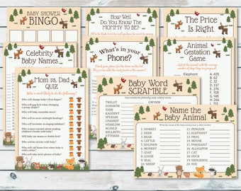 Woodland Baby Shower Games Package, Woodland Baby Shower Printable, Baby Shower Game Package, Woodland Printable Game, Woodland Games Bundle