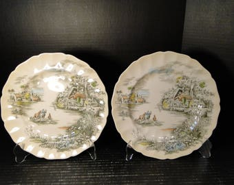 """TWO Johnson Brothers Happy England Dinner Plates 10"""" Multicolor Set of 2 EXCELLENT!"""