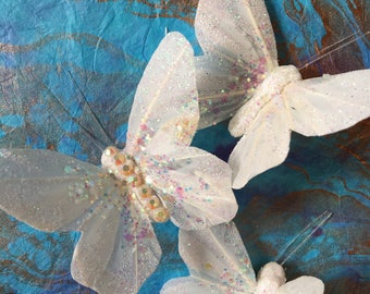 Moon Dancer Iridescent Holographic Butterfly Hair Clips