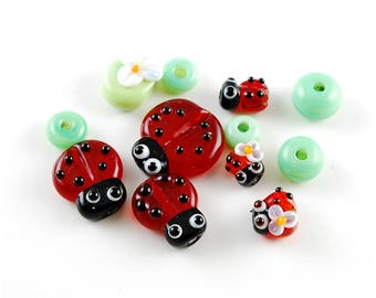 Set lampwork beads Ladybug beads glass ladybird lampwork jewelry supplies red color green SRA craft supply artisan Red Glass Ladybirds