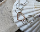 Silver nursing necklace, mixed metal mama metal, rose gold heart // Bubbly Heart fine silver rose gold centerpiece // ready to ship