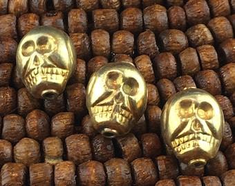 Gold Vermeil Skull Bead