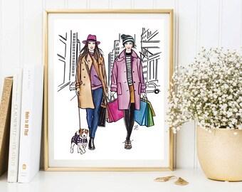 Fashion illustration, Best Friends print, Friendship print, Unique Friend Gift, Fashion art print, Fashion girl print, Fashion girl art