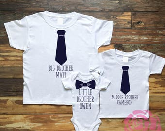 Brother Sibling Set, Big Brother Shirt, Middle Brother Shirt, Little Brother Shirt, 3 Sibling Shirt Set, 3 Sibling Shirts, Sibling Shirts