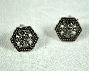 Reduced! Marcasite sterling silver earrings