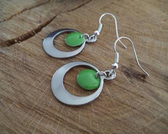 Hoop earrings Silver earrings with green sequin