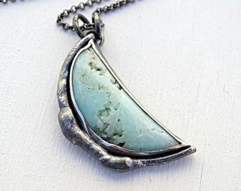 big half moon pendant gem silica, big gem silica necklace, gem silica chrysocolla pendant, mint green crystal pendant rare gemstone necklace